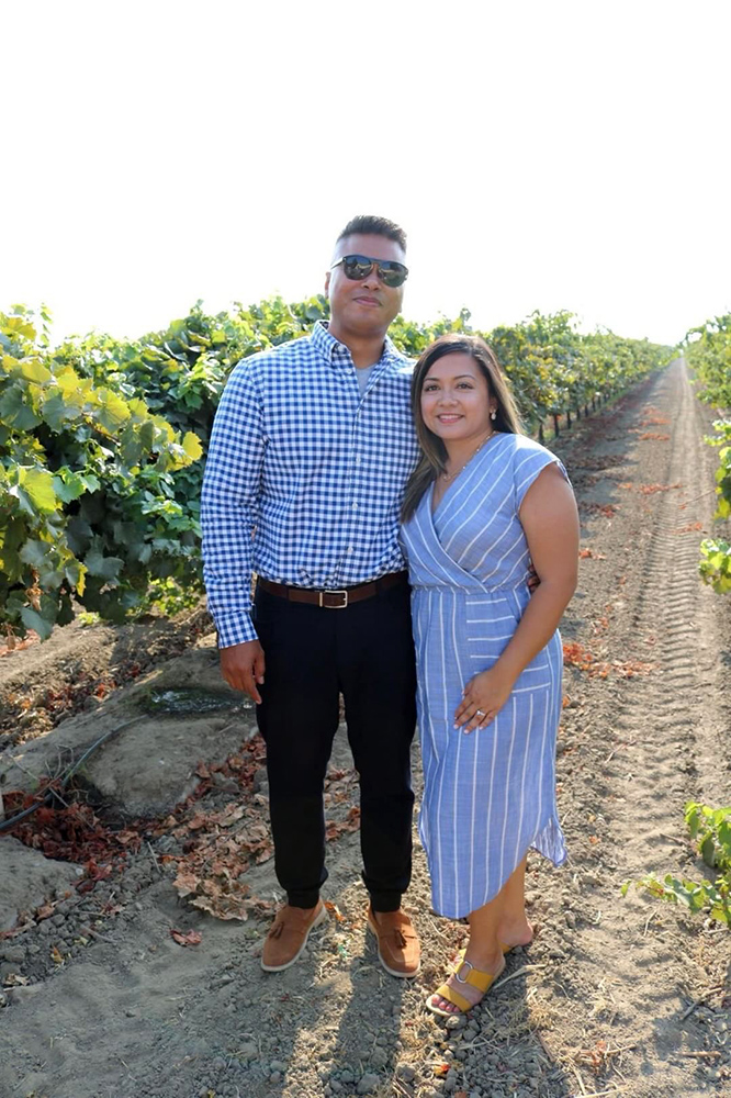 Peter and Ambriss in the vineyard