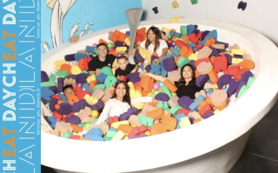 The group in the huge cereal bowl at Cheat Day Land
